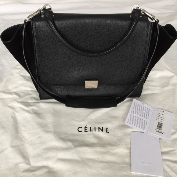 Celine Handbags - Celine Trapeze black leather with black suede